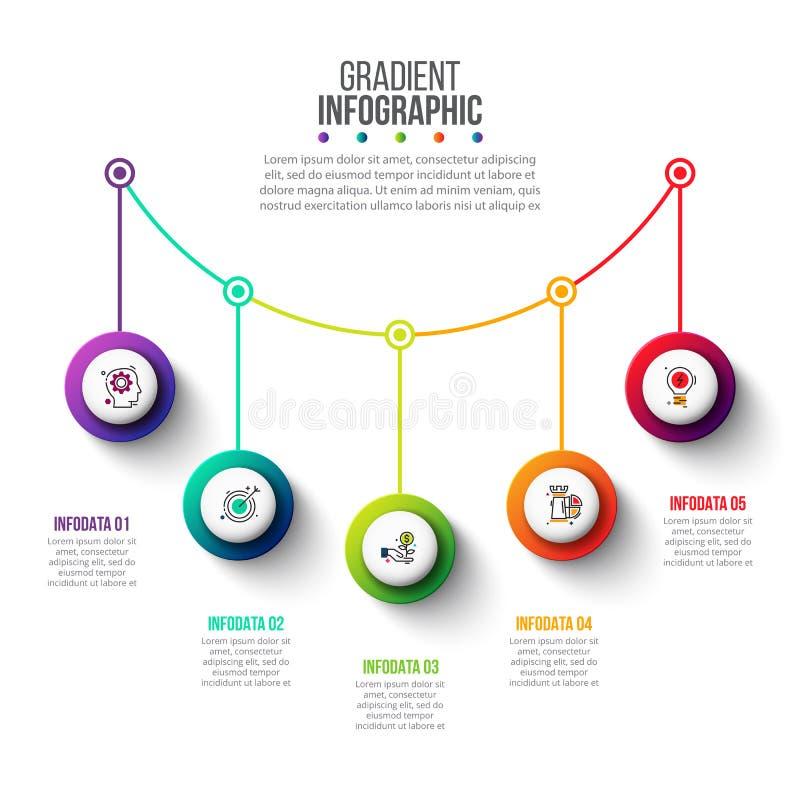 Visualisation de données commerciales Concept créatif pour infographic avec 5 étapes, options, parts ou processus illustration libre de droits