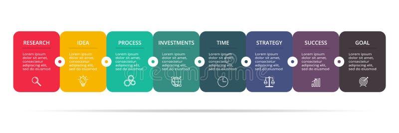 Visualisation de donn?es commerciales Diagramme de processus Éléments de graphique, de diagramme avec 8 étapes, d'options, de piè illustration stock