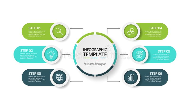 Visualisation de donn?es commerciales Diagramme de processus Éléments de graphique, de diagramme avec 6 étapes, d'options, de piè illustration libre de droits