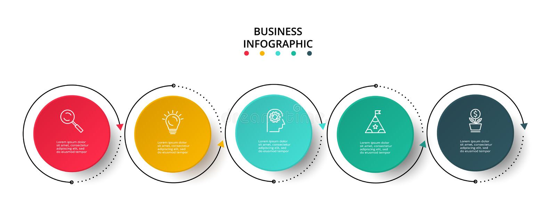 Visualisation de donn?es commerciales Diagramme de processus ?l?ments de graphique, de diagramme avec 5 ?tapes, d'options, de pi? illustration stock