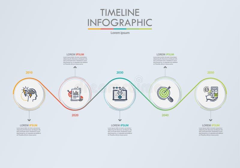 Visualisation de donn?es commerciales ic?nes infographic de chronologie con?ues pour le calibre abstrait de fond illustration de vecteur