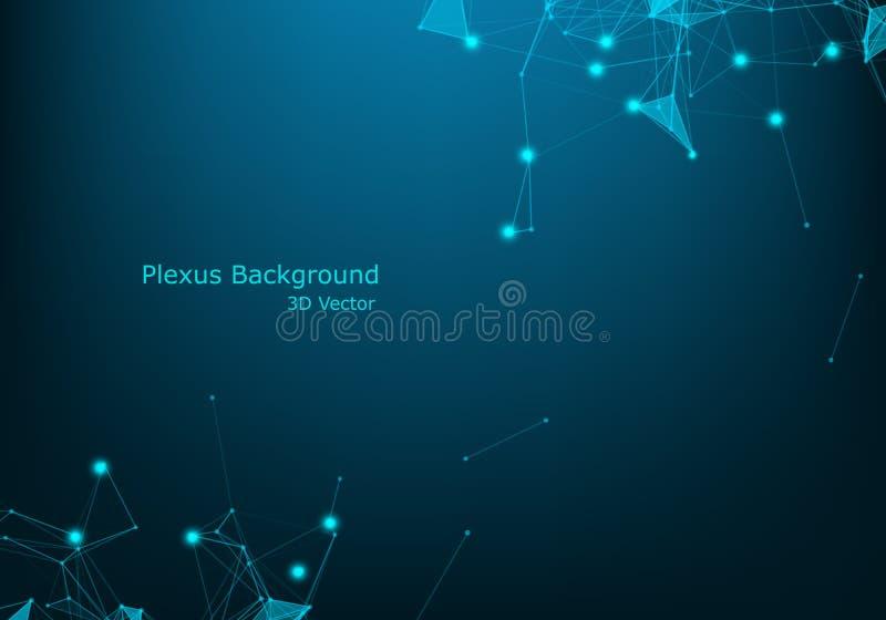 Visualisation futurista dos dados do wireframe da rede azul abstrata do fio da tecnologia com efeito da luz Fundo grande da conex ilustração royalty free