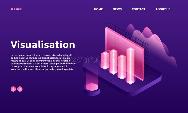 Visualisation sztandar, isometric styl ilustracja wektor