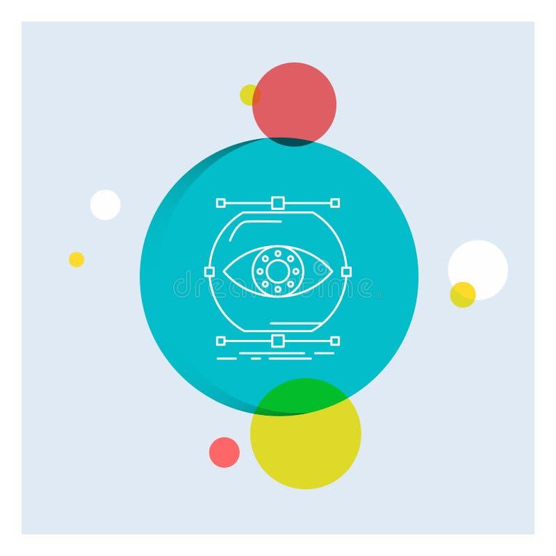 visualiseer, conceptie, controle, controle, Achtergrond van de het Pictogram kleurrijke Cirkel van de visie de Witte Lijn royalty-vrije illustratie