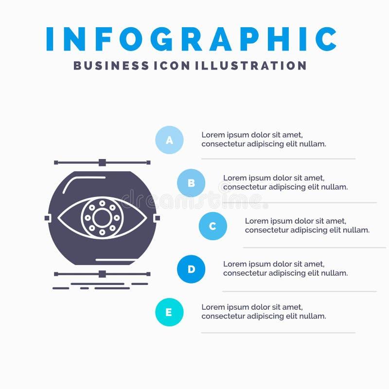 visualiseer, conceptie, controle, controle, het Malplaatje van visieinfographics voor Website en Presentatie GLyph Grijs pictogra royalty-vrije illustratie