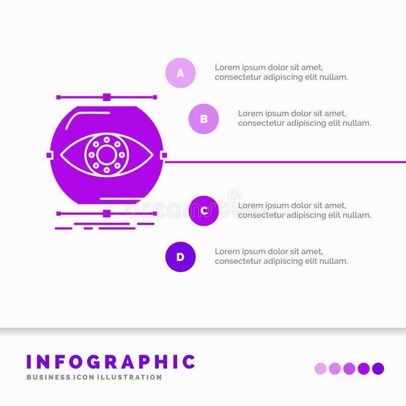 visualiseer, conceptie, controle, controle, het Malplaatje van visieinfographics voor Website en Presentatie GLyph Purper pictogr royalty-vrije illustratie