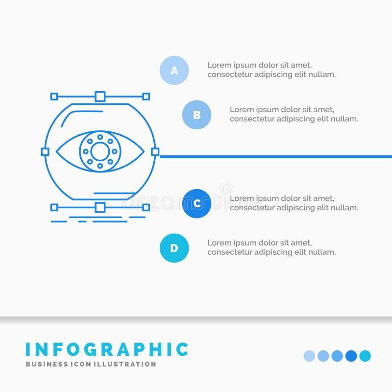 visualiseer, conceptie, controle, controle, het Malplaatje van visieinfographics voor Website en Presentatie Lijn Blauw pictogram vector illustratie