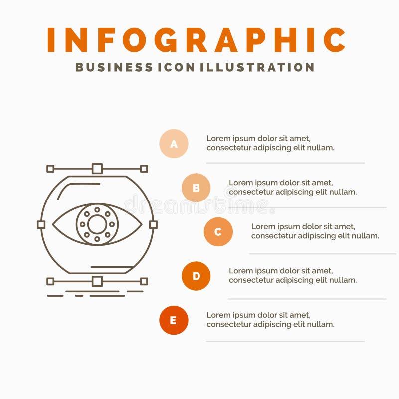 visualiseer, conceptie, controle, controle, het Malplaatje van visieinfographics voor Website en Presentatie Lijn Grijs pictogram stock illustratie