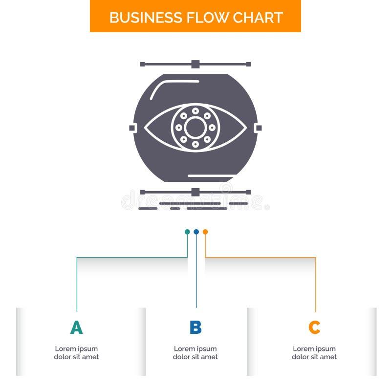 visualiseer, conceptie, controle, controle, het Ontwerp visie van de Bedrijfsstroomgrafiek met 3 Stappen Glyphpictogram voor Pres vector illustratie