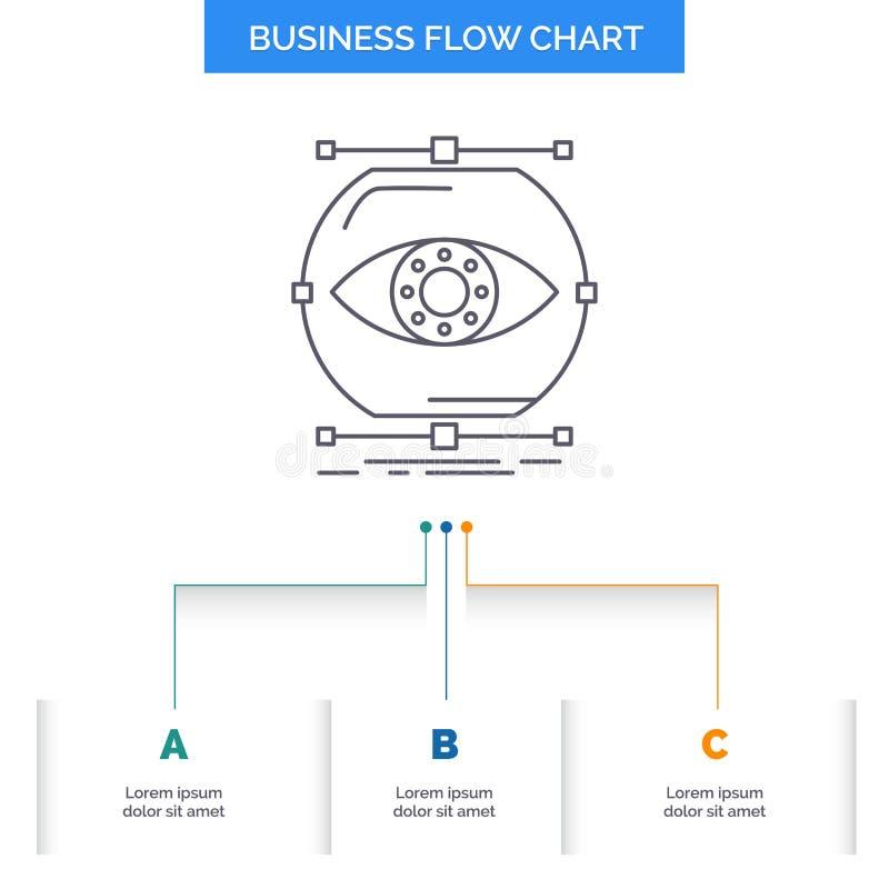 visualiseer, conceptie, controle, controle, het Ontwerp visie van de Bedrijfsstroomgrafiek met 3 Stappen Lijnpictogram voor Prese vector illustratie