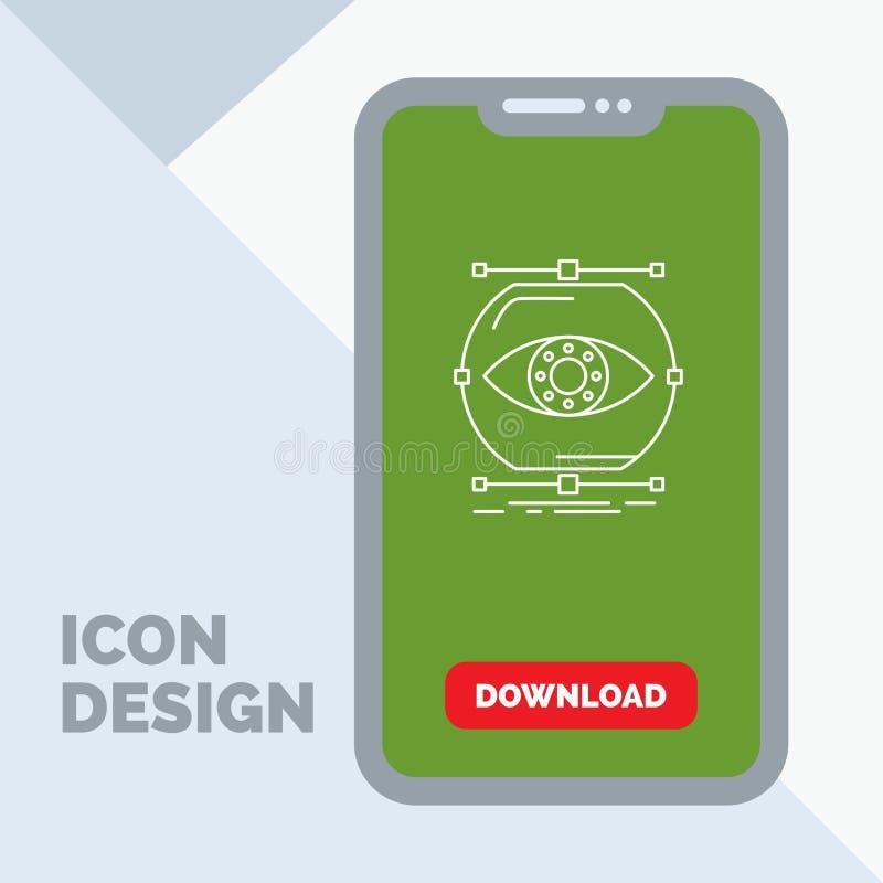 visualiseer, conceptie, controle, controle, het Pictogram van de visielijn in Mobiel voor Downloadpagina royalty-vrije illustratie