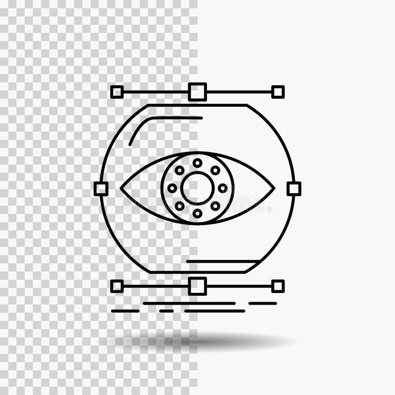 visualiseer, conceptie, controle, controle, het Pictogram van de visielijn op Transparante Achtergrond Zwarte pictogram vectorill royalty-vrije illustratie