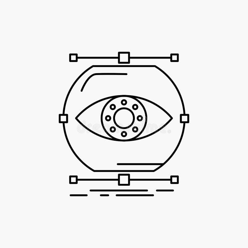 visualiseer, conceptie, controle, controle, het Pictogram van de visielijn Vector ge?soleerde illustratie stock illustratie