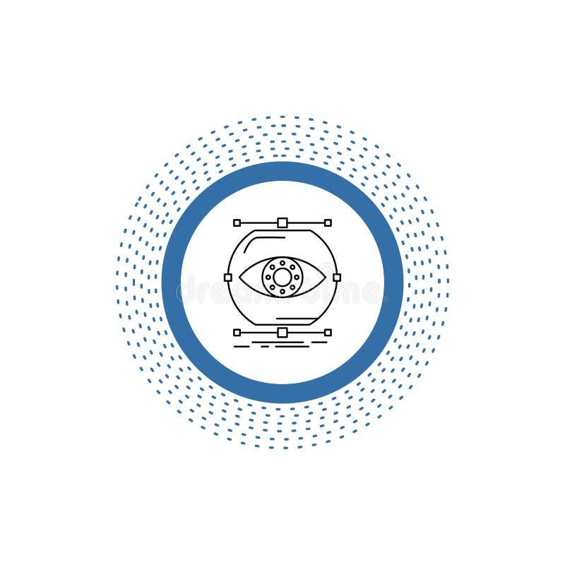 visualiseer, conceptie, controle, controle, het Pictogram van de visielijn Vector ge?soleerde illustratie royalty-vrije illustratie