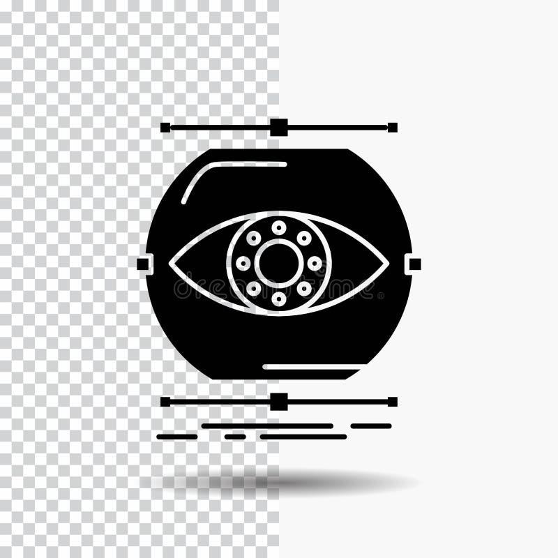 visualiseer, conceptie, controle, controle, het Pictogram van visieglyph op Transparante Achtergrond Zwart pictogram royalty-vrije illustratie