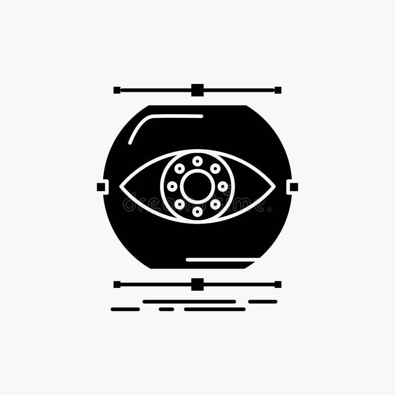 visualiseer, conceptie, controle, controle, het Pictogram van visieglyph Vector ge?soleerde illustratie stock illustratie