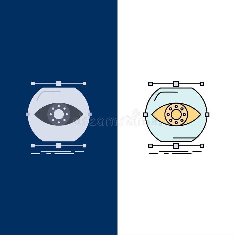 visualiseer, conceptie, controle, controle, het Pictogramvector van de visie Vlakke Kleur vector illustratie