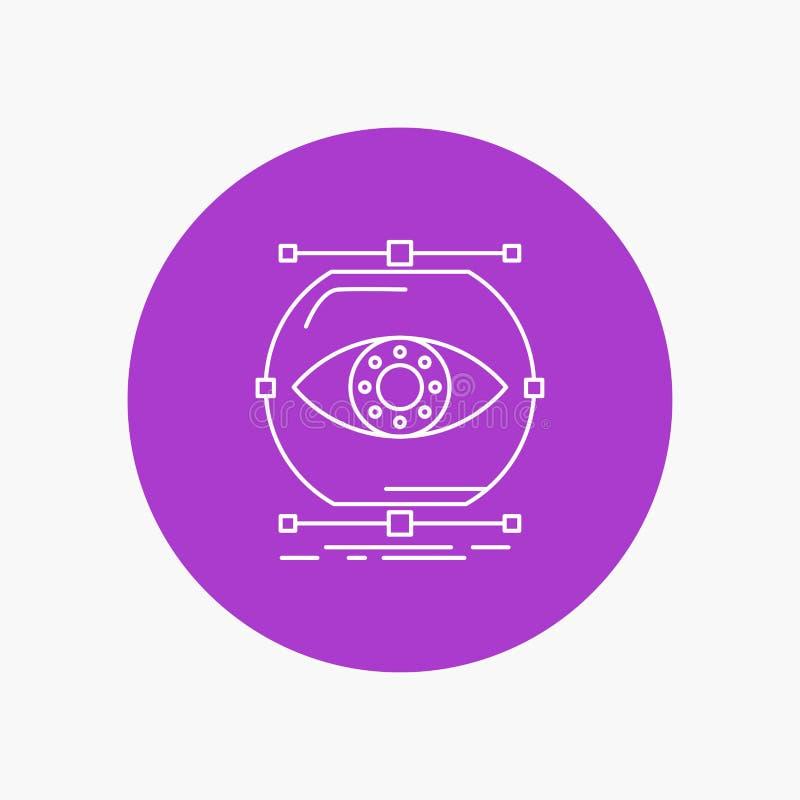 visualiseer, conceptie, controle, controle, Pictogram van de visie het Witte Lijn op Cirkelachtergrond Vectorpictogramillustratie vector illustratie