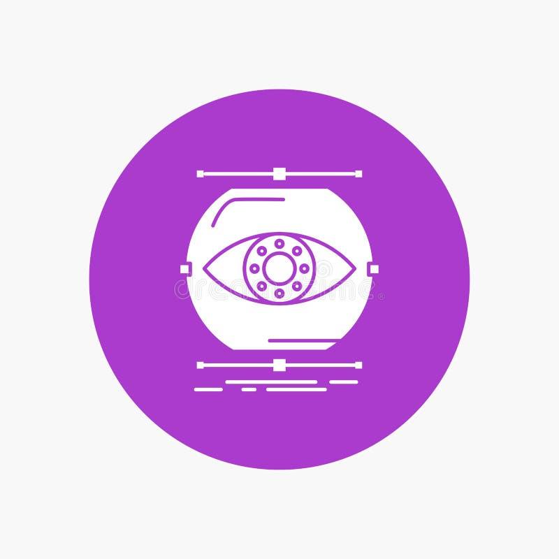 visualiseer, conceptie, controle, controle, Pictogram van visie het Witte Glyph in Cirkel Vectorknoopillustratie stock illustratie