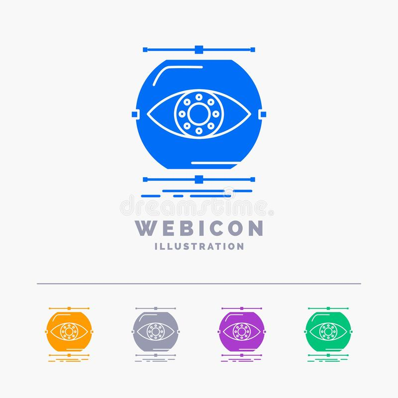 visualiseer, conceptie, controle, controle, visie 5 het Malplaatje van het het Webpictogram van Kleurenglyph op wit wordt geïsole stock illustratie