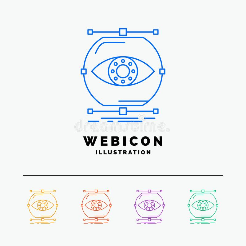 visualiseer, conceptie, controle, controle, visie 5 het Pictogrammalplaatje van het Rassenbarrièreweb op wit wordt geïsoleerd dat stock illustratie