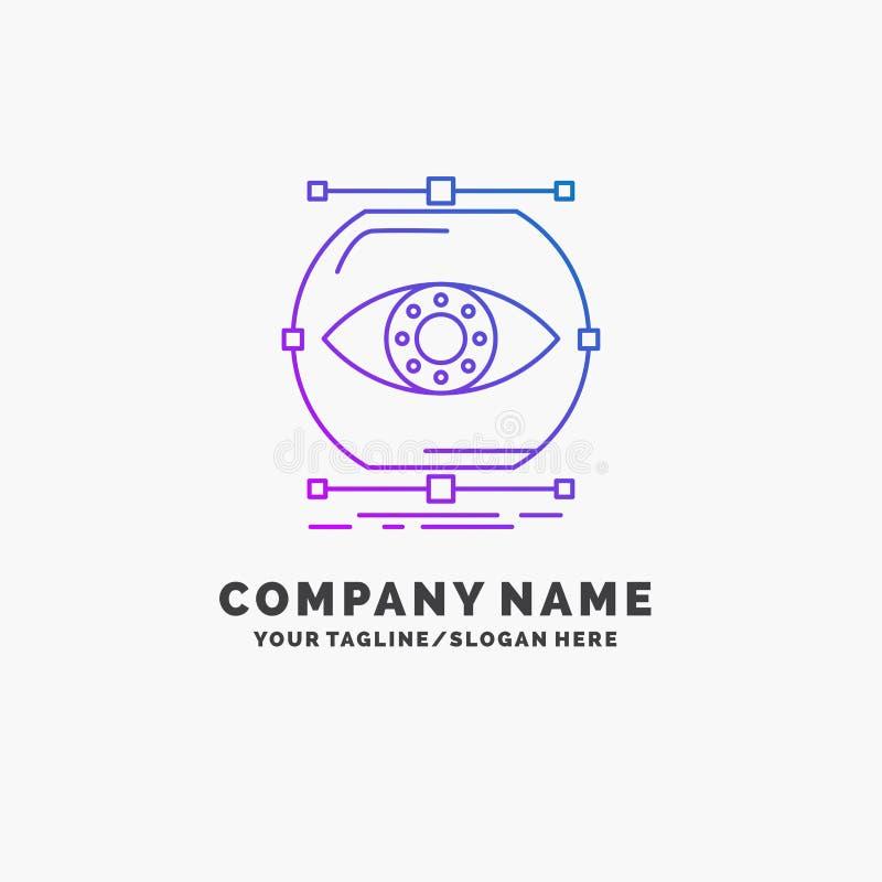 visualiseer, conceptie, controle, controle, visie Purpere Zaken Logo Template Plaats voor Tagline stock illustratie