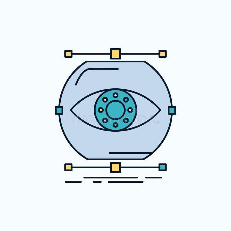 visualiseer, conceptie, controle, controle, visie Vlak Pictogram groene en Gele teken en symbolen voor website en Mobiel stock illustratie