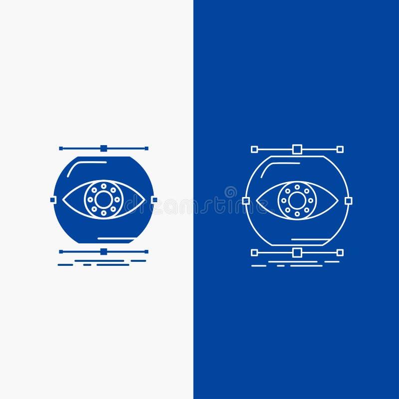 visualiseer, conceptie, controle, controle, visielijn en Glyph-Webknoop in Blauwe kleuren Verticale Banner voor UI en UX, vector illustratie