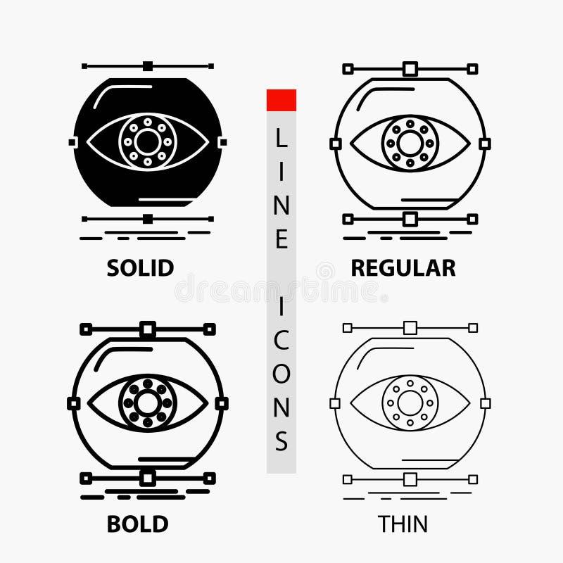 visualiseer, conceptie, controle, controle, visiepictogram in Dunne, Regelmatige, Gewaagde Lijn en Glyph-Stijl Vector illustratie stock illustratie