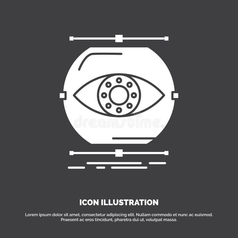 visualiseer, conceptie, controle, controle, visiepictogram glyph vectorsymbool voor UI en UX, website of mobiele toepassing royalty-vrije illustratie