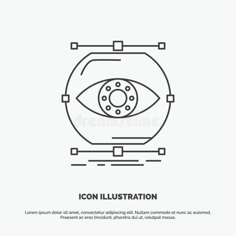 visualiseer, conceptie, controle, controle, visiepictogram Lijn vector grijs symbool voor UI en UX, website of mobiele toepassing vector illustratie