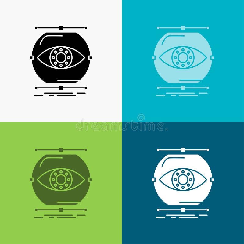 visualiseer, conceptie, controle, controle, visiepictogram over Diverse Achtergrond glyph stijlontwerp, voor Web dat en app wordt vector illustratie