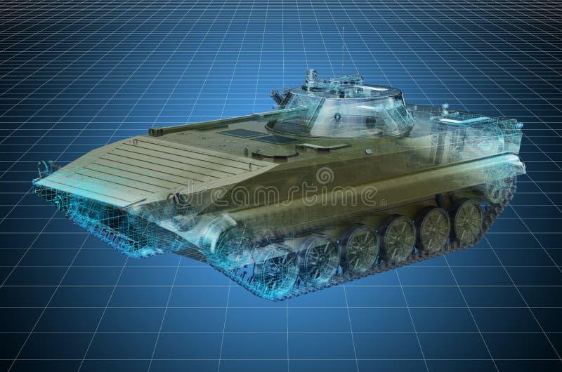 Visualisierung 3d cad-Modell der Schlacht-Infanterie-Kampffahrzeug, militärisches Ingenieurkonzept 3D-Darstellung stock abbildung