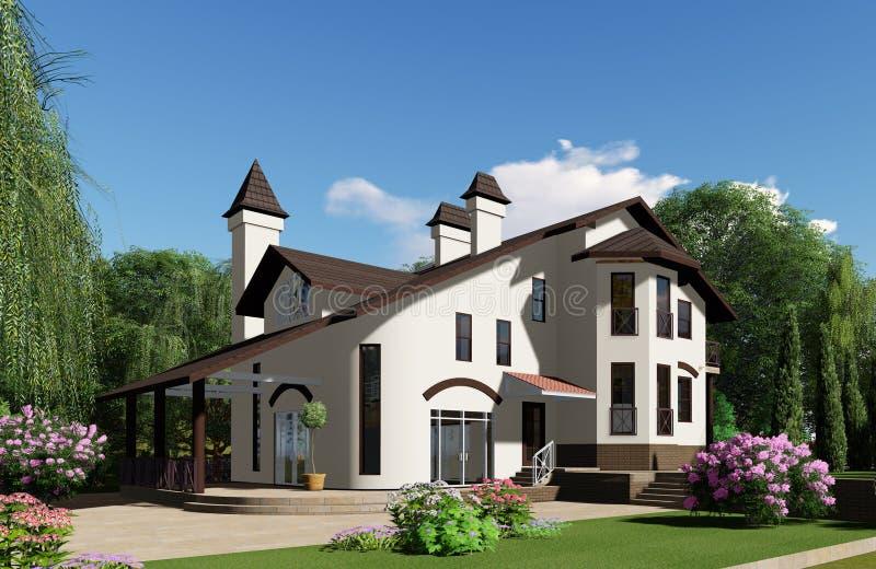 visualização 3d A casa está no fundo de um bonito ilustração stock