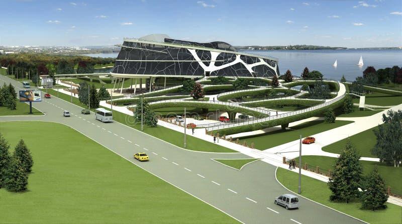 visualização 3D da construção do eco com formulário biônico e tecnologias energia-eficientes. ilustração do vetor