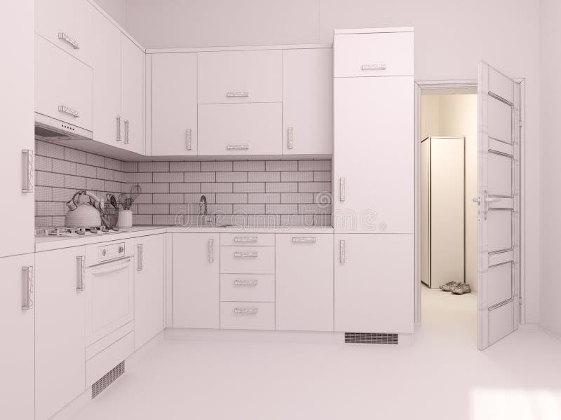 visualização 3D da cozinha do design de interiores em um apartamento de estúdio ilustração stock