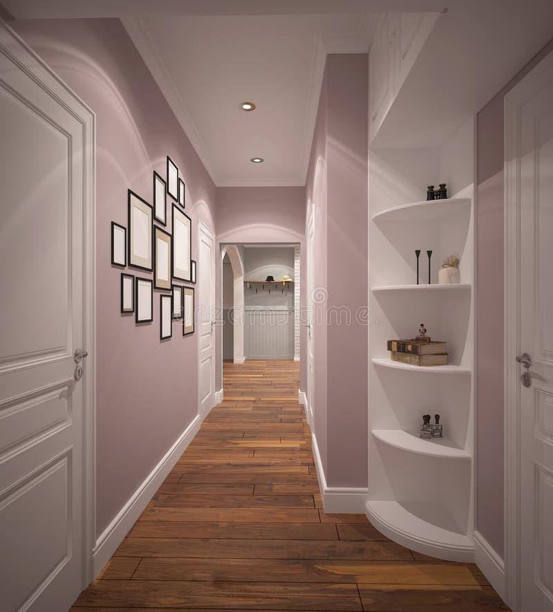 visualização 3D de um design de interiores do salão de entrada ilustração royalty free