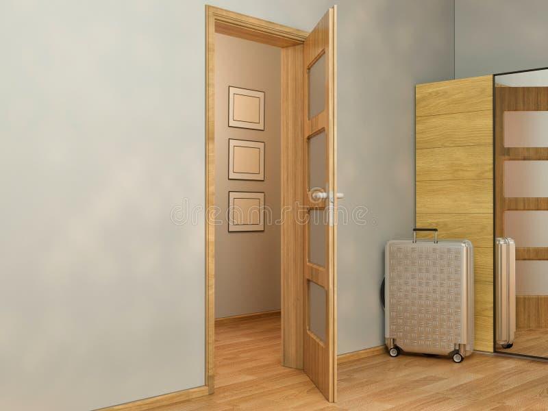 visualização 3D do design de interiores que vive em um apartamento de estúdio ilustração stock