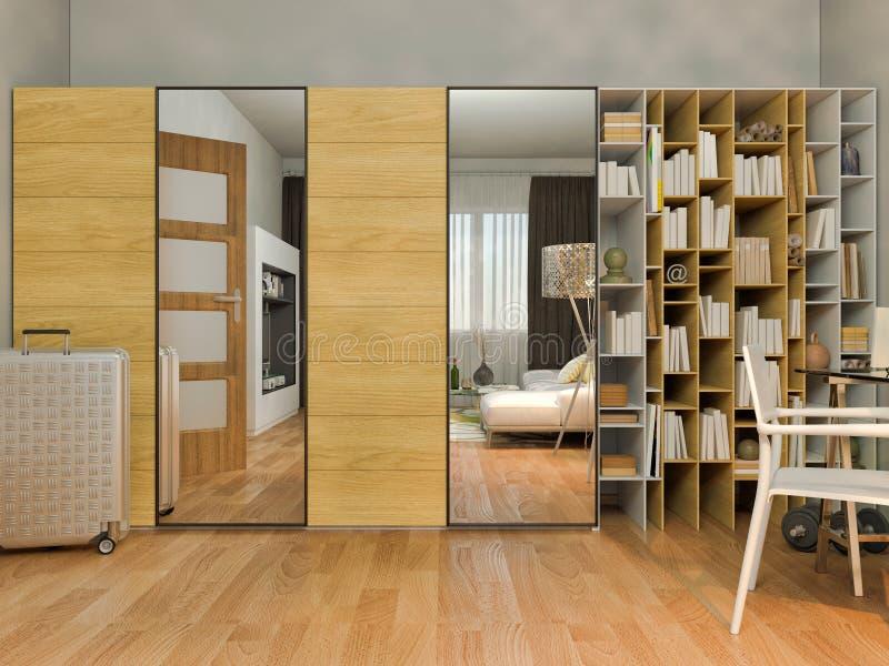 visualização 3D do design de interiores que vive em um apartamento de estúdio ilustração do vetor