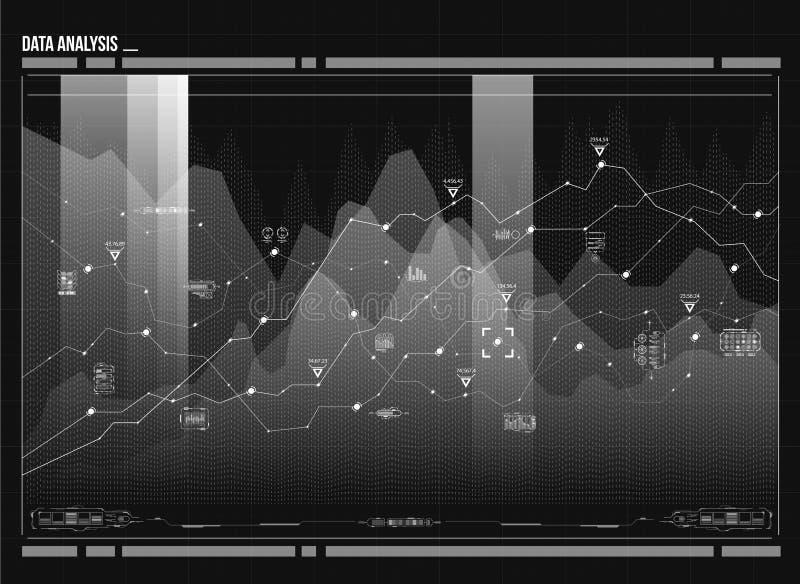Visualização da análise de dados Complexidade de dados visual Representação social da rede ilustração stock