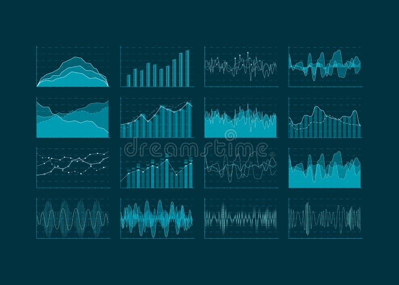 Visualização da análise de dados Grupo de HUD e de elementos infographic Interface de utilizador futurista Ilustração do vetor ilustração stock