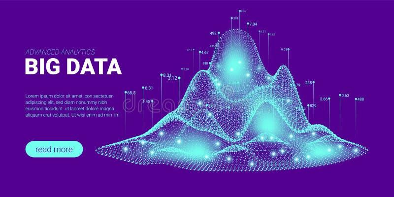 Visualização da computação de quantum, classificação de Big Data ilustração stock