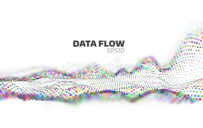 Visualização de fluxo de dados abstrato Córrego da informação Rede das partículas ilustração do vetor