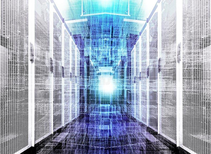 visualização do armazém de dados com bytes dos arquivos e dos dados Cubos futuristas das partículas no fundo do corredor imagem de stock