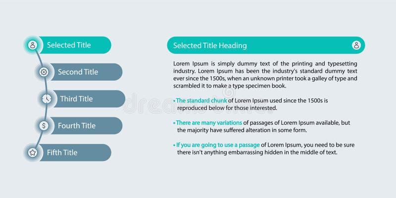 Visualização do espaço temporal Infographic, dos dados comerciais, carta de processo, etapas listadas e descrição, botões da Web  ilustração royalty free
