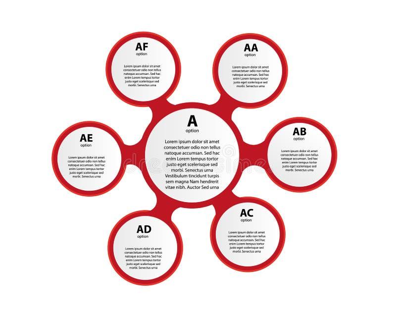 Visualização dos dados comerciais Carta de processo Elementos abstratos do gráfico, do diagrama com etapas, das opções, das peças ilustração stock
