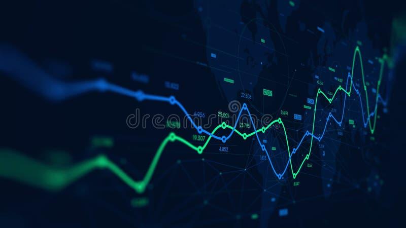 Visualização dos dados da analítica de Digitas, programação financeira, tela de monitor na perspectiva ilustração do vetor