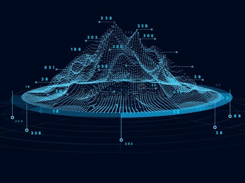Visualização grande abstrato do radial dos dados 3D Informatio financeiro ilustração stock