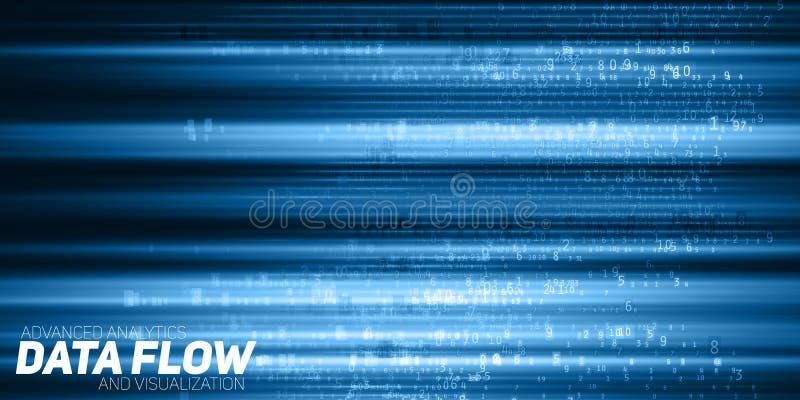 Visualização grande abstrato dos dados do vetor Fluxo azul dos dados como cordas dos números Representação do código da informaçã ilustração stock