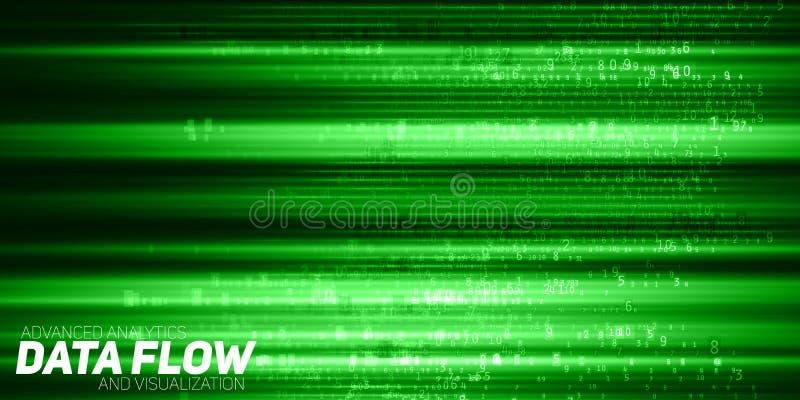 Visualização grande abstrato dos dados do vetor Fluxo verde dos dados como cordas dos números Representação do código da informaç ilustração do vetor